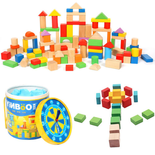 100/177pcs Wooden Building Blocks Bricks Constuction Children Puzzled Toy Set UK