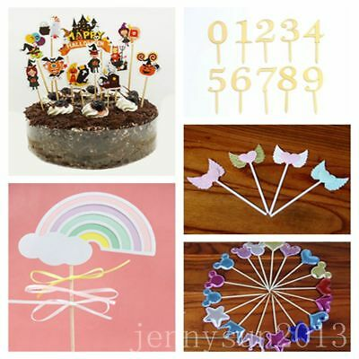 Christmas Cake Toppers Multiple-Shape Halloween Party Insert Card Flag Decor - Halloween Baby Shower Cakes