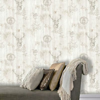 STAG WOOD PANEL WALLPAPER CREAM / ROSE GOLD - HOLDEN 90092 NEW