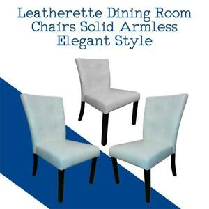NEW Leatherette Dining Room Chairs Solid Armless Elegant Style (Set of 2) (grey,White) Condition: New