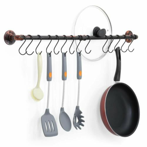 Kitchen Wall Mount Rail with 14 S Hooks Pot Pan Lid Rack Utensil Holder