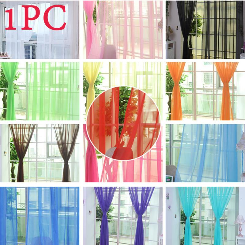 Reine Farbe Tüll Tür Fenster Vorhang Tuch transparenter Schal Schürzen