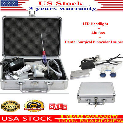 3.5x Dental Surgical Binocular Loupes Optical Glass Loupe With Led Head Light Us