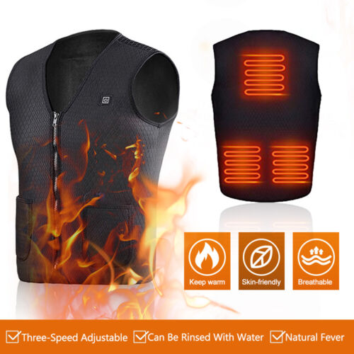 Electric Vest Heated Jacket USB Thermal Warm Heat Pad Winter Body Warmer Unisex Clothing, Shoes & Accessories