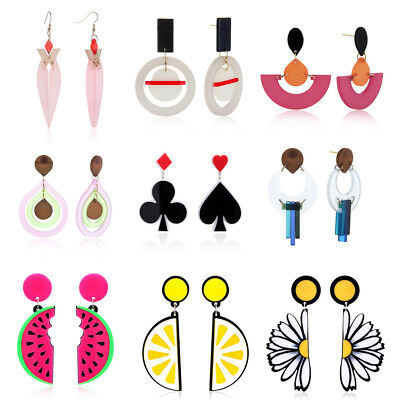 Chic Fashion Women Elegant Candy Color Acrylic Geometry Ear Stud Earrings Charms