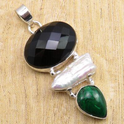 925 Silver Overlay Black Onyx, Biwa Pearl, Malachite Pendant 2.1