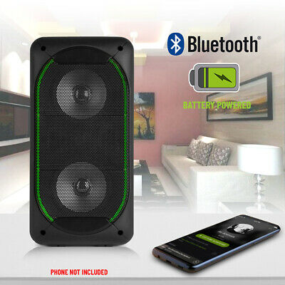 Portable Bluetooth Party Speaker Boombox USB Battery Powered MP3 Player LED 50w