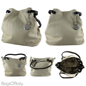 Daniela Moda In Pelle Italian Leather Bucket Tote Handbag Cream and Brown