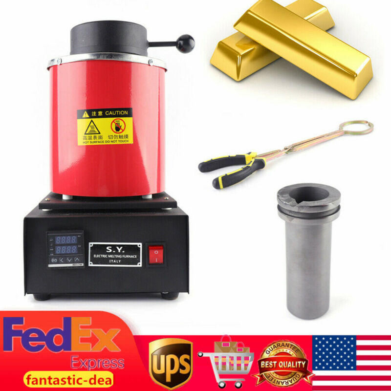 2KG Automatic Electric Metal Melting Furnace Forge Gold Copper Silver Melter USA