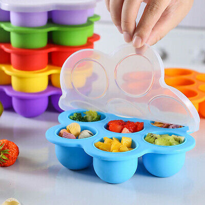 Silicone Baby Food Freezer Tray 7 Holes Storage Container With Lid BPA Free