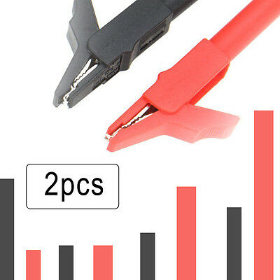 2 Protective Insulative Crocodile Alligator Clips Tester Meter For Multimeter