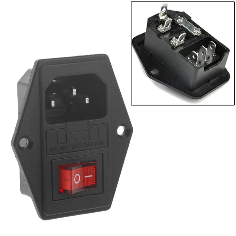 Useful Hot 250v Plug Fuse 10a Inlet Module Switch Male