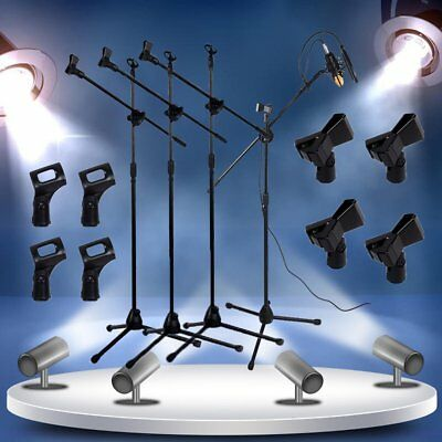 4 Pack Microphone Stand Dual Mic Clip 360-degree Rotating Boom Arm Tripod VP