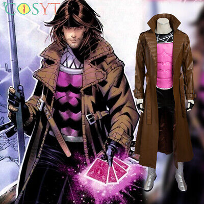 Gambit Costume Halloween (Gambit Remy Etienne LeBeau Cosplay Costume Cloak Halloween Outfits Full Set)
