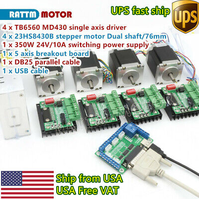 Usacnc 4 Axis Nema23 Stepper Motor 270oz-in 3a Driver Board Md430 Power Supply