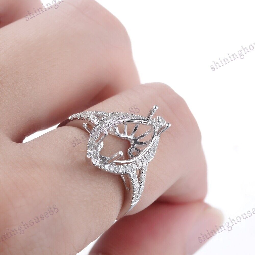 Marquise 13X7mm Semi Mount Natural SI/H Diamond Fine Jewelry Ring ...