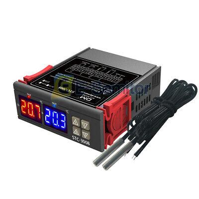 Stc-3008 Thermostat Dual Led Temperature Controller Ntc Probe 12v 24v 110-220v