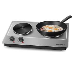 NEW Cusimax Double Countertop Burner 1800W Hot Plate - Stainless Steel CMHP-C180 Condtion: New