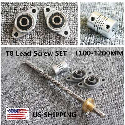 100-1200mm Lead 28mm T8 Horizontal Lead Screw Set W Nuts Coupler 3d Printer