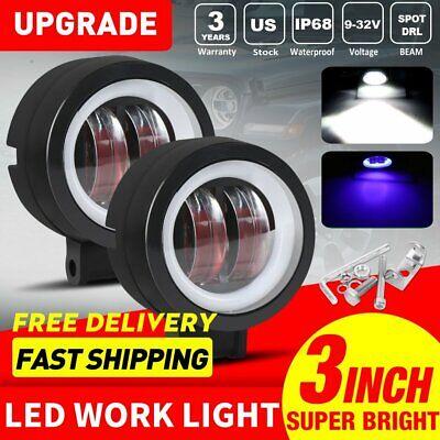 Blue Led Spotlight (2x 3inch 40W CREE LED Fog Work Lights Spotlight Blue Halo 12V For Ford)