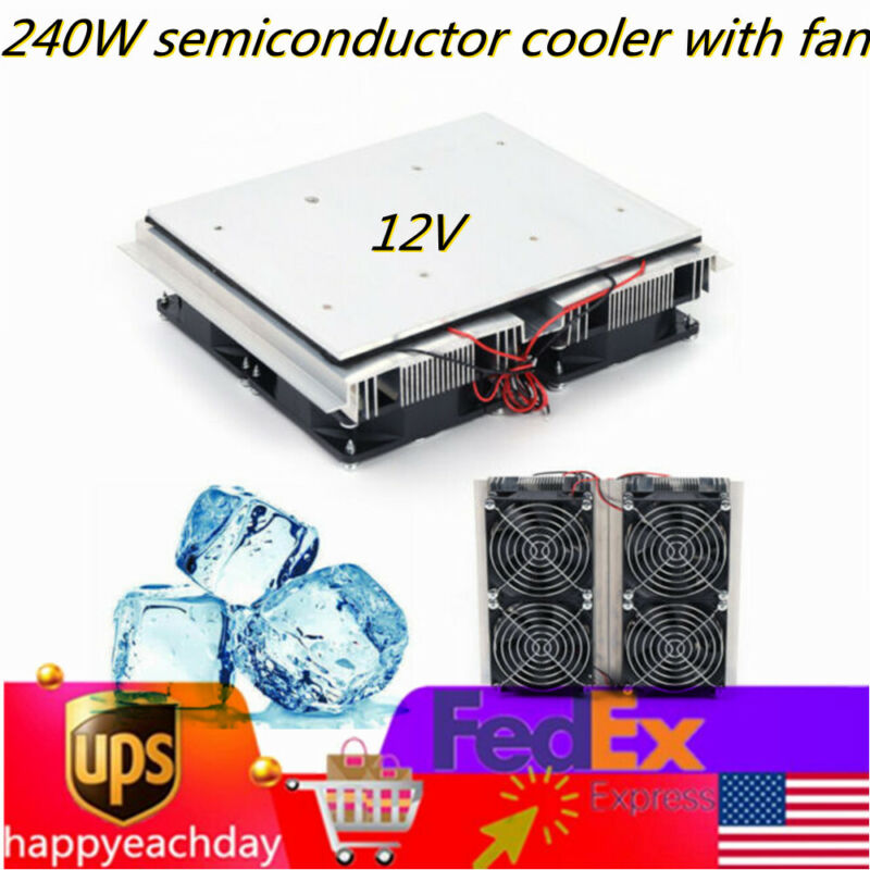 240WRefrigeration Plate Cooler Semiconductor Peltier Cold Cooler With Fan 12V