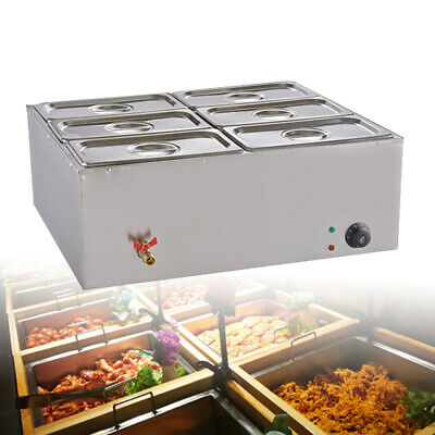 110v 6-pan Commercial Bain-marie Buffet Food Warmer Steam Table Warmers Steamer