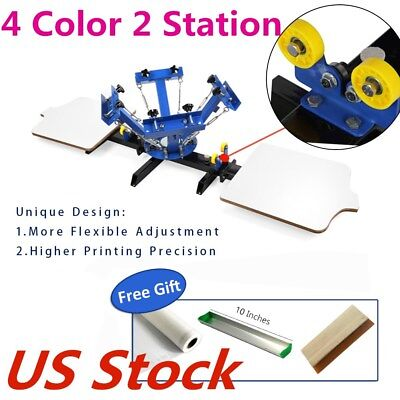Us Stock 4 Color Silk Screen Printing Machine 2 Station 4-2 Press Diy