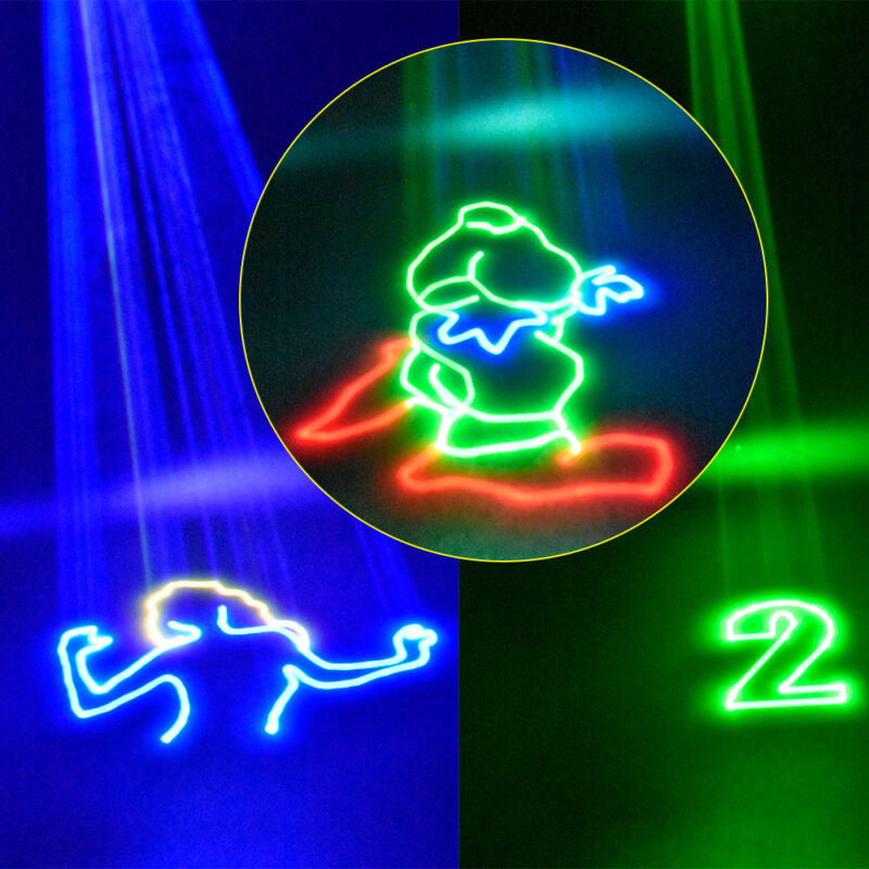 1W Fullcolor 3D Animation Laser Projector Light DMX DJ Party Club Stage Lighting