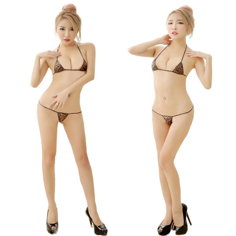 sexy micro mini Bikini Leopard wetlook triangle Reizwäsche hot fast nackt