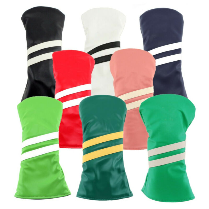 New Hurricane Golf 2 Stripe Hybrid Headcover Adjustable Tag Synthetic Leather