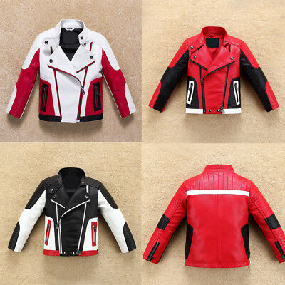 Cool Kids Boys Thick Leather Jacket  Warm Coat Biker Casual Outerwear Zipper New - Boy Leather Jacket