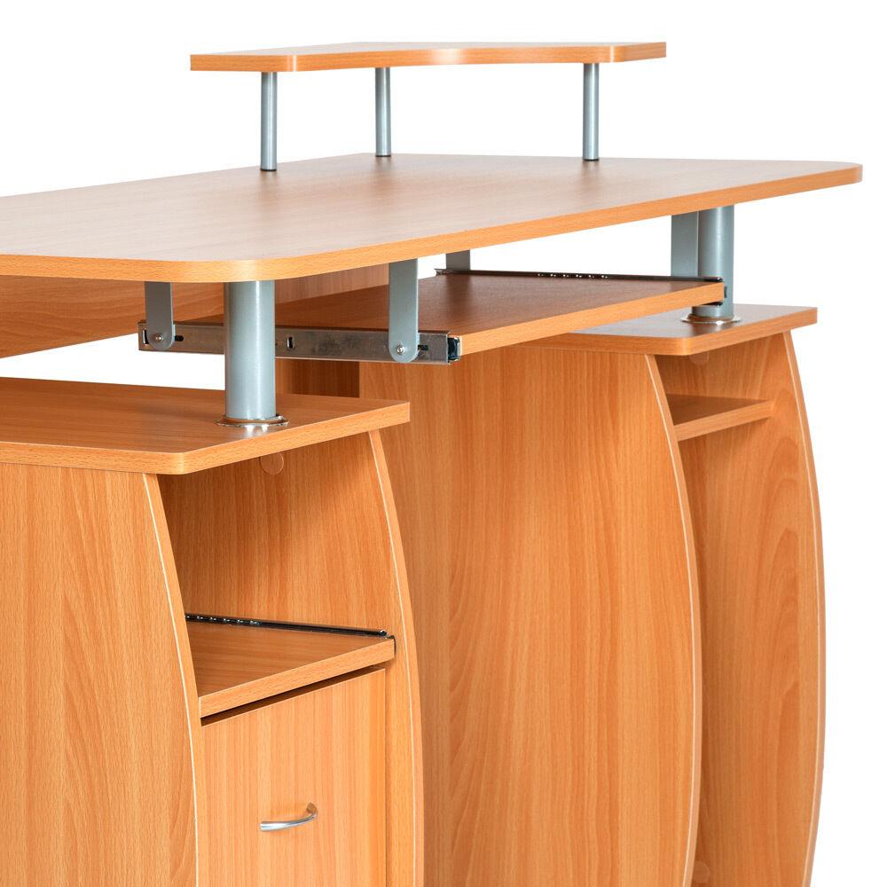 computertisch pc tisch arbeitstisch mit schubladen schreibtisch b rom bel buche eur 224 99. Black Bedroom Furniture Sets. Home Design Ideas