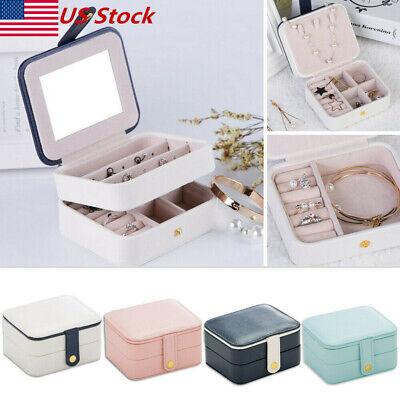 Travel Jewelry Case - Womens Portable Travel Jewelry Box Organizer PU Jewellery Ornaments Case Storage