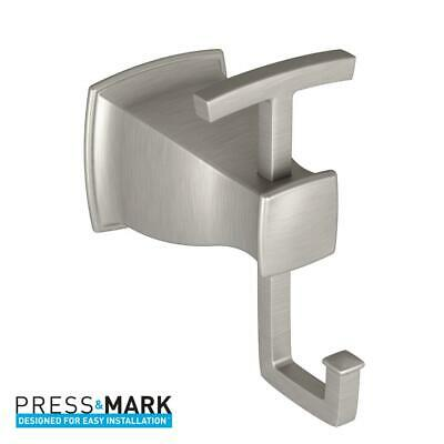 MOEN Hensley Double Robe Hook with Press and Mark in Brushed Nickel Moen Double Robe Hook