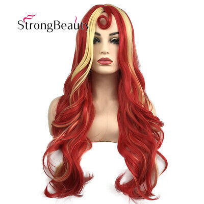 Long Curly Ombre Red Yellow Wavy Wig Party Cosplay Halloween Hair Wig for Women - Curly Red Wig For Halloween