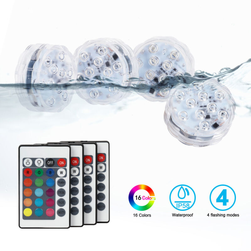 4 Pcs Underwater Led Lights 10 Led 16  Colors Changing Waterproof with Remote