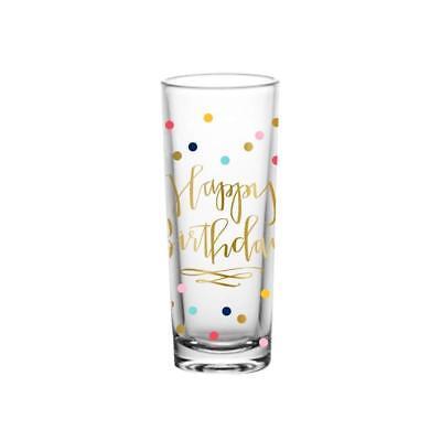 Slant Happy Birthday Colorful Confetti Design Shooter Shot Glass, 2 oz. - Birthday Shot