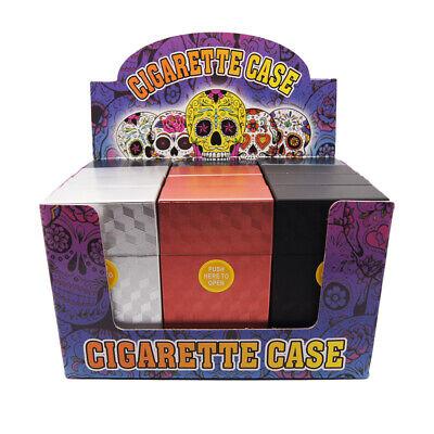 3 Pack 100's Size Push-to-Open Plastic Cigarette Case Square Metal Color  LPOSQ