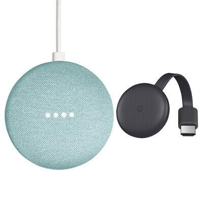 Google Home Mini Smart Speaker with Google Assistant Aqua + Chromecast Charcoal