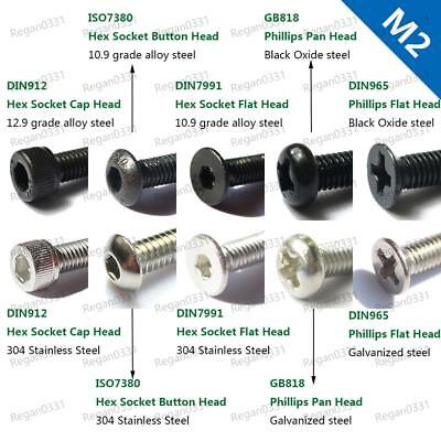 50/100x M2 Hex Socket Cap Head Button Head Flat Head Phillips Pan Head Screw