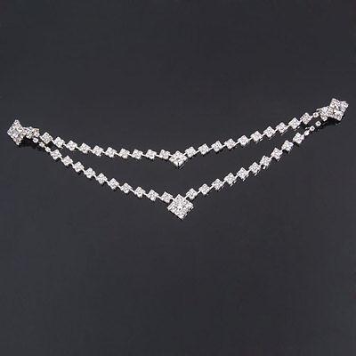 Wedding Square Design Bridal Rhinestone Hair Comb Pin Tiara Forehead Chain Clip