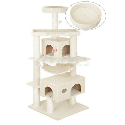 "Vidapets 71"" Beige Big Fat Cat Tree Condo Furniture Scratch Post Play House"