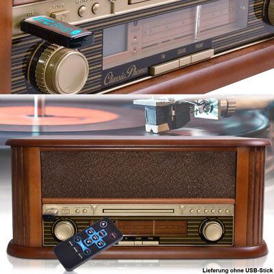 Retro Vinyl Schall Platten Spieler MDF Holz Musik CD Radio Anlage USB MP3 HiFi
