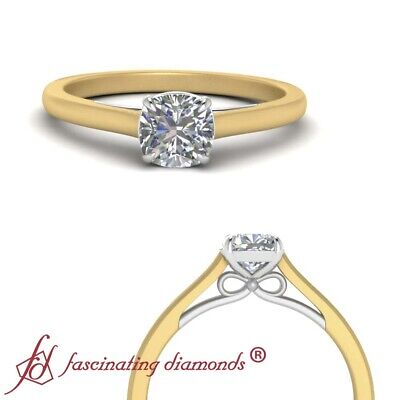 Cushion Cut Diamond Two Tone Solitaire Engagement Ring In Yellow Gold 0.90 Ctw