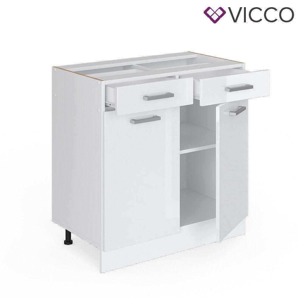 VICCO Küchenschrank Hängeschrank Unterschrank Küchenzeile R-Line Schubunterschrank 80 cm weiß