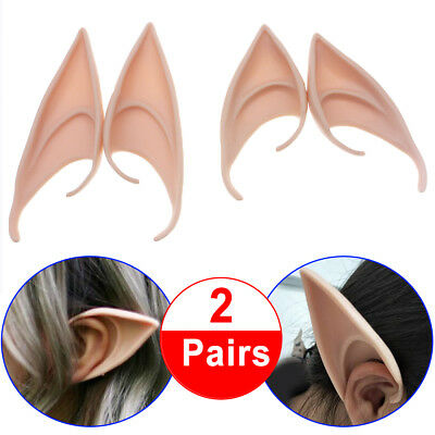2 Pairs soft Latex Pixie Elf Fairy Costume Tip Ears Cosplay Masks High Quality