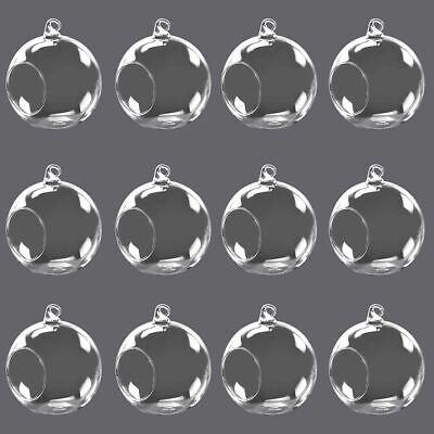 Set of 12 Round Globe Ball Hanging Vase Glass Air Plant Terrarium  Candle Holder Hanging Glass Vases