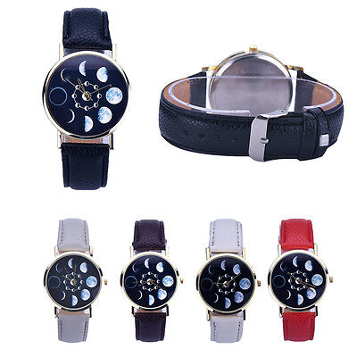 New Arrival Women Lunar Eclipse Pattern Faux Leather Analog Quartz Wrist Watch