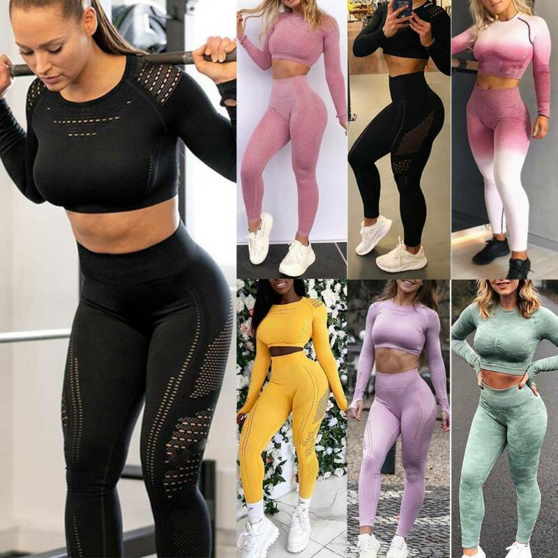 Women Sport Suit Yoga Set Gym Workout Long Sleeve Fitness Cr