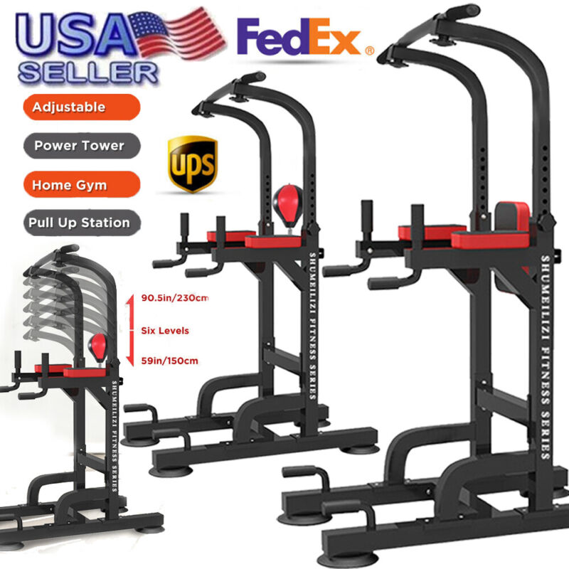 Power Tower Pull Up Gym Training Equipment Workout Dip Stati